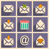 Flat with shadow concept and mobile application. Email icons Stock Images