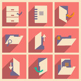 Flat with shadow concept and mobile application. Folders icons Royalty Free Stock Photography