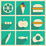 Flat with shadow concept and mobile application. Food Stock Photos