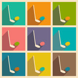 Flat with shadow concept and mobile application hockey Royalty Free Stock Photo