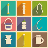 Flat with shadow concept and mobile application. Hookah icons Stock Images