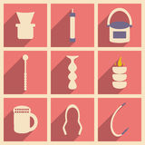 Flat with shadow concept and mobile application. Hookah icons Royalty Free Stock Images