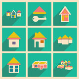 Flat with shadow concept and mobile application. Houses icons Royalty Free Stock Photography