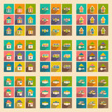 Flat with shadow concept and mobile application. Houses icons Royalty Free Stock Photos
