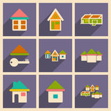Flat with shadow concept and mobile application. Houses icons Stock Image