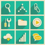 Flat with shadow concept and mobile application. Internet icons Royalty Free Stock Image