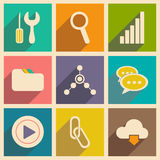 Flat with shadow concept and mobile application. Internet icons Stock Images