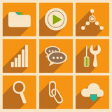 Flat with shadow concept and mobile application. Internet icons Royalty Free Stock Photo
