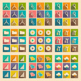 Flat with shadow concept and mobile application. Internet icons Stock Photography