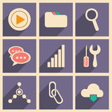 Flat with shadow concept and mobile application. Internet icons Stock Photos