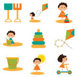 Flat with shadow concept and mobile application. Kids toys Royalty Free Stock Photo