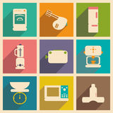 Flat with shadow concept and mobile application. Kitchen appliances Royalty Free Stock Image