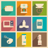 Flat with shadow concept and mobile application. Kitchen appliances Royalty Free Stock Photo