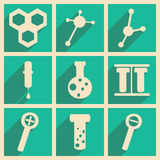 Flat with shadow concept and mobile application. Laboratory Stock Images