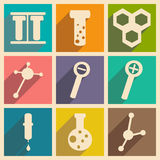 Flat with shadow concept and mobile application. Laboratory equipment Royalty Free Stock Photo