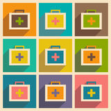 Flat with shadow concept and mobile application medicine chest Stock Images