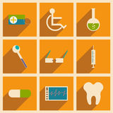 Flat with shadow concept and mobile application. Medicine icons Stock Photography