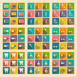 Flat with shadow concept and mobile application. Medicine icons Royalty Free Stock Photo