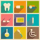 Flat with shadow concept and mobile application. Medicine icons Royalty Free Stock Photography