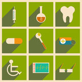 Flat with shadow concept and mobile application. Medicine icons Royalty Free Stock Photos
