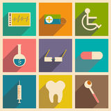Flat with shadow concept and mobile application. Medicine icons Stock Photo