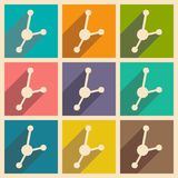 Flat with shadow concept and mobile application  molecule structure Stock Photography