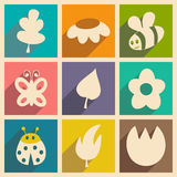 Flat with shadow concept and mobile application. Nature icons Stock Photo