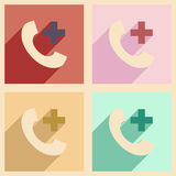 Flat with shadow concept and mobile application Royalty Free Stock Photo