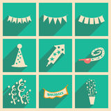 Flat with shadow concept and mobile application. Party Royalty Free Stock Photo