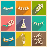 Flat with shadow concept and mobile application. Party Stock Photos