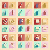 Flat with shadow concept and mobile application. Personal care Royalty Free Stock Images