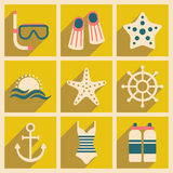 Flat with shadow concept and mobile application. Sea icons Royalty Free Stock Photography