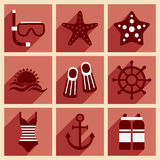 Flat with shadow concept and mobile application. Sea icons Stock Photos