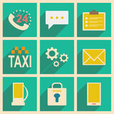 Flat with shadow concept and mobile application. Service icons Stock Images
