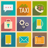 Flat with shadow concept and mobile application. Service icons Royalty Free Stock Image