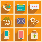 Flat with shadow concept and mobile application. Service icons Royalty Free Stock Images