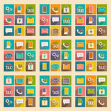 Flat with shadow concept and mobile application. Service icons Stock Image