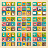 Flat with shadow concept and mobile application. Service icons Royalty Free Stock Photo