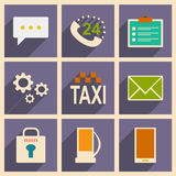 Flat with shadow concept and mobile application. Service icons Royalty Free Stock Photos