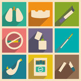 Flat with shadow concept and mobile application smoking Stock Photography