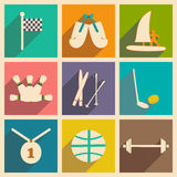 Flat with shadow concept and mobile application. Sports Royalty Free Stock Images
