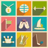 Flat with shadow concept and mobile application sports Royalty Free Stock Photo