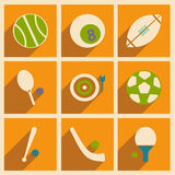 Flat with shadow concept and mobile application. Sports icons Stock Photo