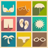 Flat with shadow concept and mobile application. Summer holiday Royalty Free Stock Photo