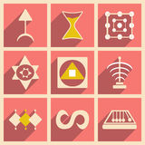 Flat with shadow concept and mobile application. Symbols Stock Images