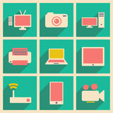 Flat with shadow concept and mobile application. Technology icons Stock Images