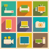 Flat with shadow concept and mobile application. Technology icons Royalty Free Stock Images
