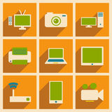 Flat with shadow concept and mobile application. Technology icons Stock Photos
