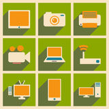 Flat with shadow concept and mobile application. Technology icons Royalty Free Stock Photography