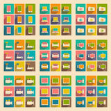 Flat with shadow concept and mobile application. Technology icons Royalty Free Stock Photo